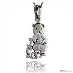 Sterling Silver Mommy Bear Pendant, 1 3/8 in tall