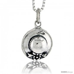 Sterling Silver Hat Pendant, 1/2 in tall