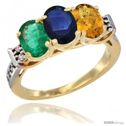 10K Yellow Gold Natural Emerald, Blue Sapphire & Whisky Quartz Ring 3-Stone Oval 7x5 mm Diamond Accent