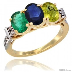 10K Yellow Gold Natural Emerald, Blue Sapphire & Lemon Quartz Ring 3-Stone Oval 7x5 mm Diamond Accent