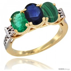 10K Yellow Gold Natural Emerald, Blue Sapphire & Malachite Ring 3-Stone Oval 7x5 mm Diamond Accent
