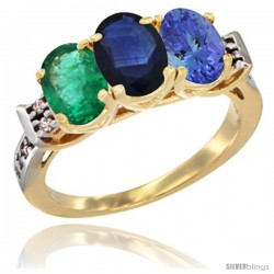 10K Yellow Gold Natural Emerald, Blue Sapphire & Tanzanite Ring 3-Stone Oval 7x5 mm Diamond Accent