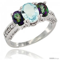 14k White Gold Ladies Oval Natural Aquamarine 3-Stone Ring with Mystic Topaz Sides Diamond Accent