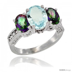 14K White Gold Ladies 3-Stone Oval Natural Aquamarine Ring with Mystic Topaz Sides Diamond Accent