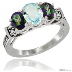 14K White Gold Natural Aquamarine & Mystic Topaz Ring 3-Stone Oval with Diamond Accent