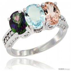 14K White Gold Natural Mystic Topaz, Aquamarine & Morganite Ring 3-Stone 7x5 mm Oval Diamond Accent