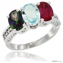 14K White Gold Natural Mystic Topaz, Aquamarine & Ruby Ring 3-Stone 7x5 mm Oval Diamond Accent