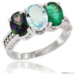 14K White Gold Natural Mystic Topaz, Aquamarine & Emerald Ring 3-Stone 7x5 mm Oval Diamond Accent