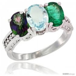 14K White Gold Natural Mystic Topaz, Aquamarine & Emerald Ring 3-Stone 7x5 mm Oval Diamond Accent