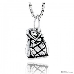 Sterling Silver Bag Pendant, 1/2 in tall -Style Pa1805