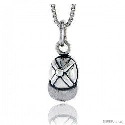 Sterling Silver Baseball Cap Pendant, 1/2 in tall -Style Pa1806