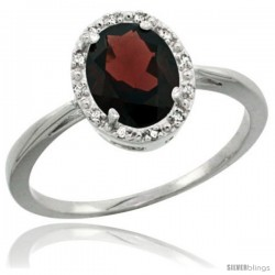 Sterling Silver Natural Garnet Diamond Halo Ring 1.17 Carat 8X6 mm Oval Shape, 1/2 in wide