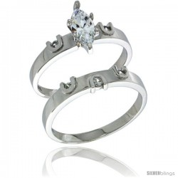 Sterling Silver Cubic Zirconia Ladies' Engagement Ring Set 2-Piece, 5/32 in wide -Style Agcz620e2