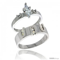 Sterling Silver Cubic Zirconia Engagement Rings Set for Him & Her Marquise Cut 9/32 in wide