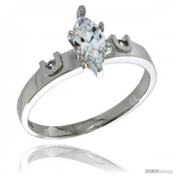 Sterling Silver Cubic Zirconia Engagement Ring 1.5 ct Marquise Cut 5/32 in wide