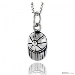 Sterling Silver Baseball Cap Pendant, 1/2 in tall -Style Pa1807