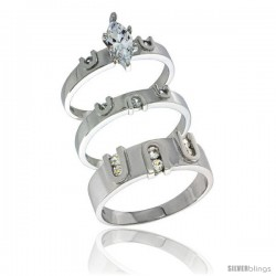 Sterling Silver Cubic Zirconia Trio Engagement Wedding Ring Set for Him & Her, men's band 9/32 in wide, L 5 - 10 & M 8 - 14