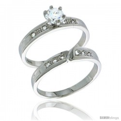 Sterling Silver Cubic Zirconia Ladies' Engagement Ring Set 2-Piece, 5/32 in wide -Style Agcz621e2