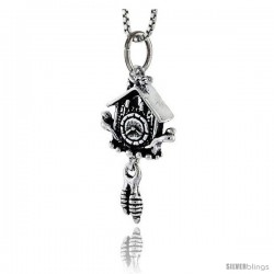 Sterling Silver Cuckoo Clock Pendant, 1 in tall