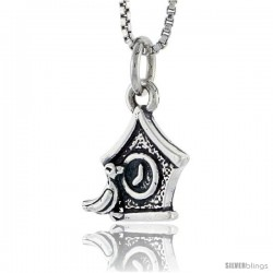Sterling Silver Cuckoo Clock Pendant, 1/2 in tall
