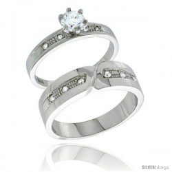 Sterling Silver Cubic Zirconia Engagement Rings Set for Him & Her Brilliant Cut Solitaire 1/4 in wide