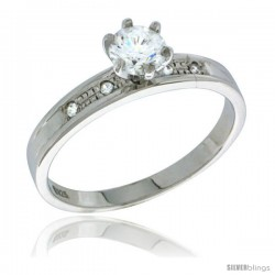 Sterling Silver Cubic Zirconia Engagement Ring 0.85 ct size Brilliant Cut 1/8 in wide