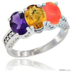 14K White Gold Natural Amethyst, Whisky Quartz & Coral Ring 3-Stone 7x5 mm Oval Diamond Accent