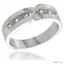 Sterling Silver Cubic Zirconia Mens Wedding Band Ring 1/4 in wide -Style Agcz621mb