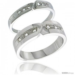 Sterling Silver Cubic Zirconia 2-Piece Wedding Ring Set for Him 6mm 1/4 in wide & Her 4mm 5/32 in wide -Style Agcz621w2