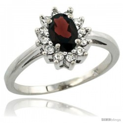 Sterling Silver Natural Garnet Diamond Halo Ring Oval Shape 1.2 Carat 6X4 mm, 1/2 in wide