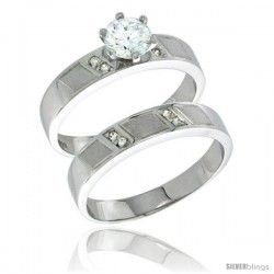 Sterling Silver Cubic Zirconia Ladies' Engagement Ring Set 2-Piece, 5/32 in wide -Style Agcz622e2