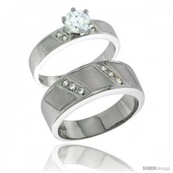Sterling Silver Cubic Zirconia Engagement Rings Set for Him & Her Brilliant Cut Solitaire 5/16 in wide
