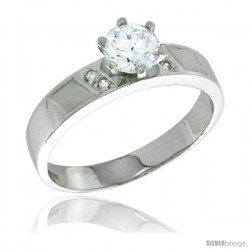 Sterling Silver Cubic Zirconia Solitaire Engagement Ring 1 ct size Brilliant Cut 5/32 in wide -Style Agcz622er