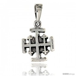 Sterling Silver Jerusalem Cross Pendant, 5/8 in tall
