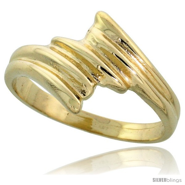size 7 wide 11mm 7//16 14k Gold Contemporary Wave Ring