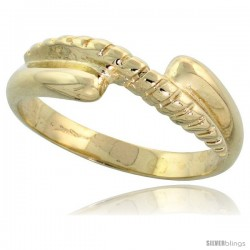 "14k Gold Contemporary Rope Design Ring, 1/4"" (6mm) wide"