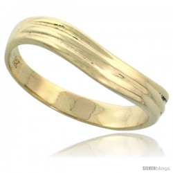 """14k Gold Grooved Wavy Ring, 5/32"""" (4mm) wide"""