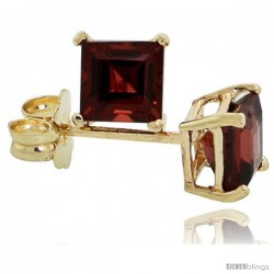 14K Gold 4 mm Garnet Square Stud Earrings 1/2 cttw January Birthstone
