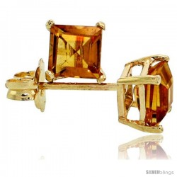 14K Gold 4 mm Citrine Square Stud Earrings 1/2 cttw November Birthstone