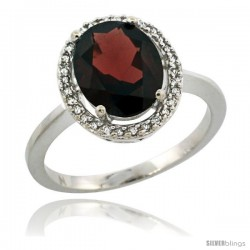 Sterling Silver Diamond Halo Natural Garnet Ring 2.4 carat Oval shape 10X8 mm, 1/2 in (12.5mm) wide