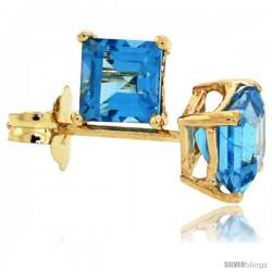 14K Gold 4 mm Blue Topaz Square Stud Earrings 1/2 cttw December Birthstone