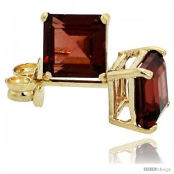 14K Gold 5 mm Garnet Square Stud Earrings 1 cttw January Birthstone