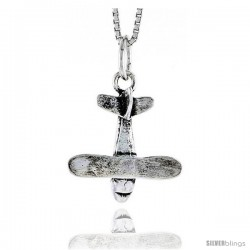 Sterling Silver Airplane Pendant, 3/4 in tall -Style Pa1795