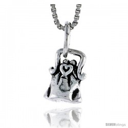Sterling Silver Purse Pendant, 7/16 tall