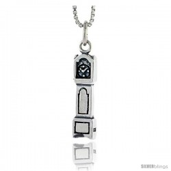 Sterling Silver Grandfather Clock Pendant, 3/4 in tall