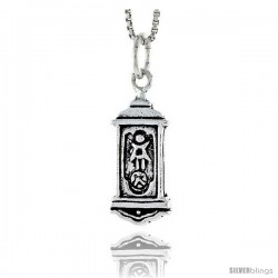 Sterling Silver Grandfather Clock Pendant, 3/4 in tall -Style Pa1816
