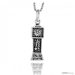 Sterling Silver Grandfather Clock Pendant, 3/4 in tall -Style Pa1817
