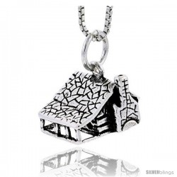 Sterling Silver House Pendant, 3/8 in tall