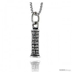 Sterling Silver Tower Pendant, 1/2 in tall