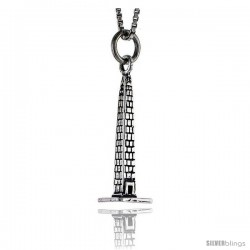 Sterling Silver Tower Pendant, 1 in tall